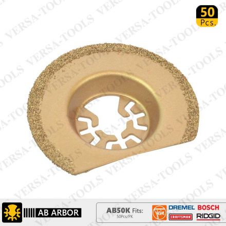 Versa Tool AB50K 63mm Semi-Circular Carbide RASP, 8mm Offset Mount Fits Fein Multimaster, Dremel, Bosch, Craftsman, Ridgid Oscillating Tools - 50/Pk