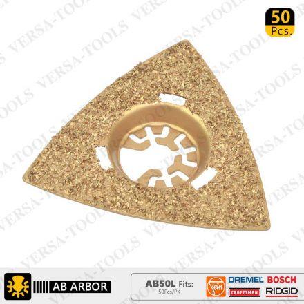 Versa Tool AB50L 80mm Triangular Carbide RASP, 8mm Offset Mount Fits Fein Multimaster, Dremel, Bosch, Craftsman, Ridgid Oscillating Tools, 50/Pack