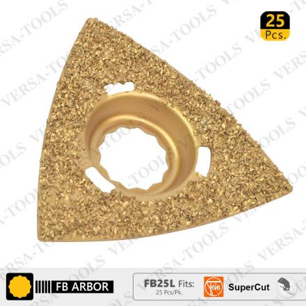 Versa Tool FB25L 80mm Triangular Carbide RASP, 8mm Offset Mount Fits Fein Supercut Oscillating Tools - 25/Pack