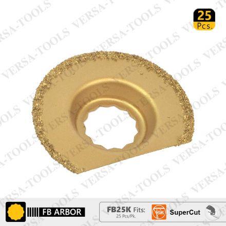Versa Tool FB25K 63mm Semi-Circular Carbide RASP, 8mm Offset Mount Fits Fein Supercut Oscillating Tools - 25/Pack