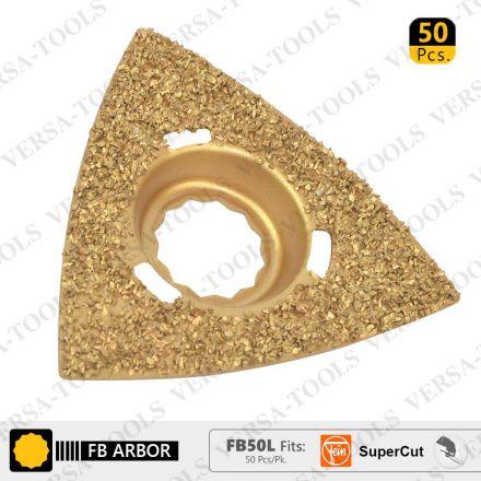 Versa Tool FB50L 80mm Triangular Carbide RASP, 8mm Offset Mount Fits Fein Supercut Oscillating Tools - 50/Pack