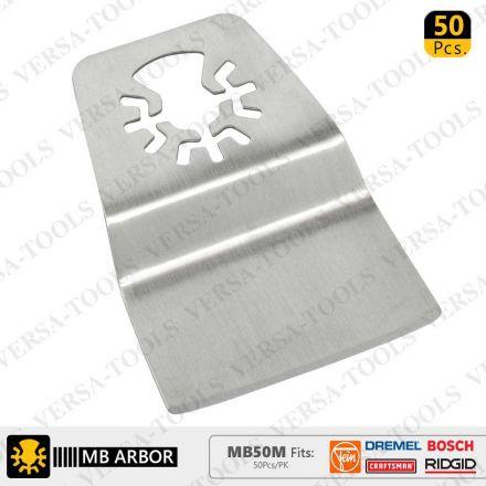 Versa Tool MB50M 52mm Flush Cut (8mm Offset Mount) Stainless Steel Scraper Fits Fein Multimaster, Dremel, Bosch, Craftsman, Ridgid Oscillating Tools - 50/Pack