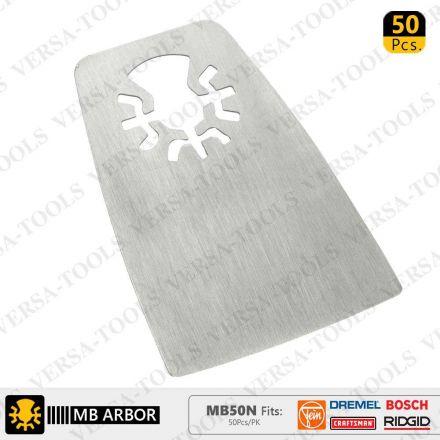Versa Tool MB50N 52mm Flat Cut Stainless Steel Scraper Fits Fein Multimaster, Dremel, Bosch, Craftsman, Ridgid Oscillating Tools - 50/Pack