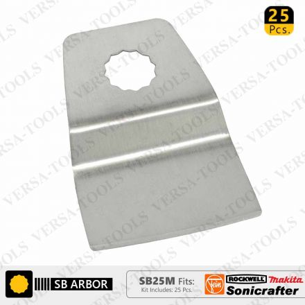 Versa Tool SB25M 52mm Flush Cut (8mm Offset Mount) Stainless Steel Scraper Fits Fein Multimaster, Rockwell, Sonicrafter, Makita Oscillating Tools - 25/Pack