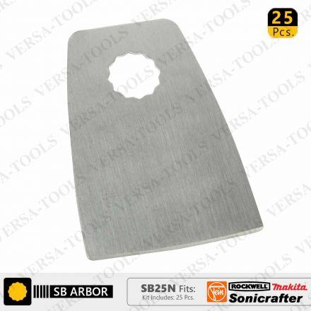 Versa Tool SB25N 52mm Flat Cut Stainless Steel Scraper Fits Fein Multimaster, Rockwell, Sonicrafter, Makita Oscillating Tools - 25/Pack