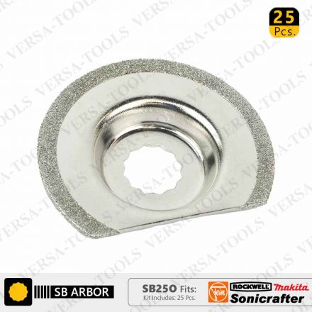 Versa Tool SB25O 63mm Semi Round Electroplated Diamond Grout Blade, 8mm Offset Mount Fits Fein Multimaster, Rockwell, Sonicrafter, Makita Oscillating Tools - 25/Pack