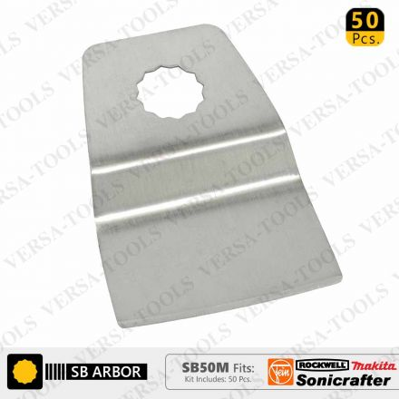 Versa Tool SB50M 52mm Flush Cut (8mm Offset Mount) Stainless Steel Scraper Fits Fein Multimaster, Rockwell, Sonicrafter, Makita Oscillating Tools - 50/Pack