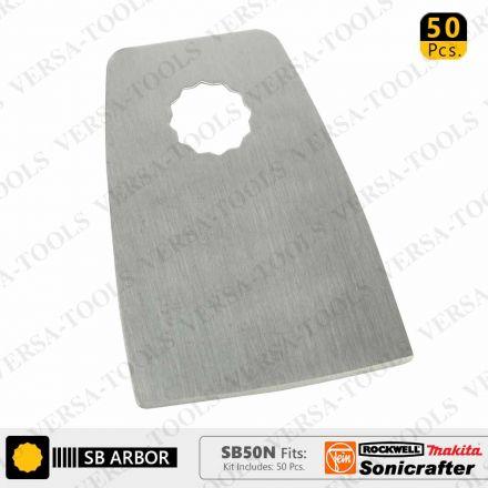 Versa Tool SB50N 52mm Flat Cut Stainless Steel Scraper Fits Fein Multimaster, Rockwell, Sonicrafter, Makita Oscillating Tools - 50/Pack