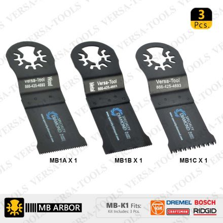 Versa Tool MB-K1 Bi-Metal Oscillating Saw Blade Set Compatible With Fein Multimaster (MB1A1B1C)